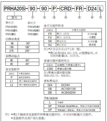 黑田精工摆动气缸PRHA系列